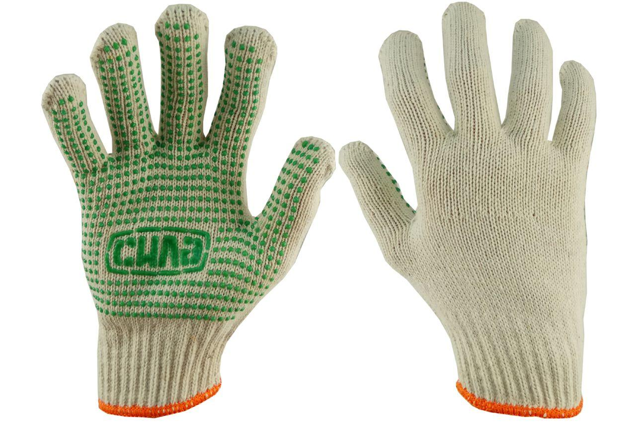 "Перчатки Сила - х/б с точкой 76 г 10"" (зеленые) 12 шт."