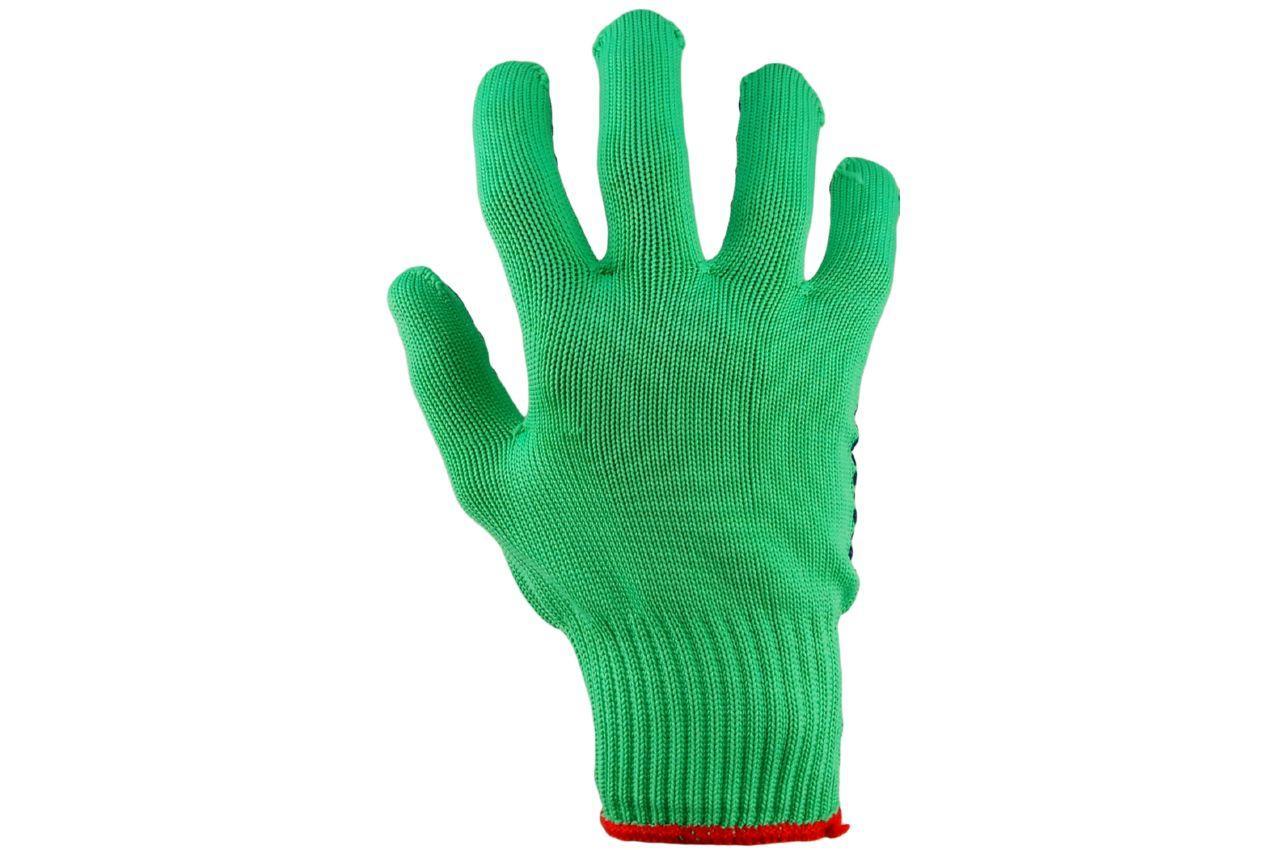 "Перчатки PRC - синтетика зеленая с точкой 10"" 12 шт."