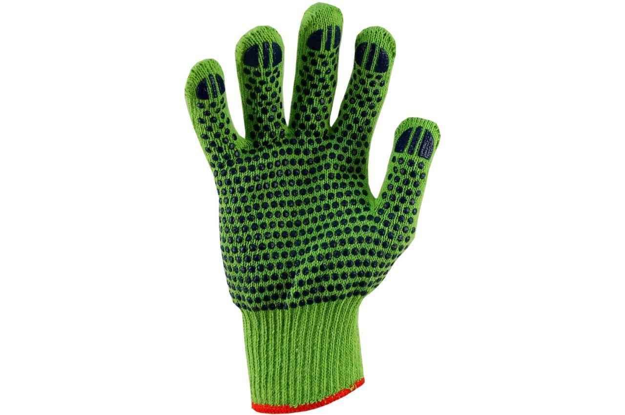 """Перчатки PRC - х/б зеленая с точкой 10"""" 12 шт."""