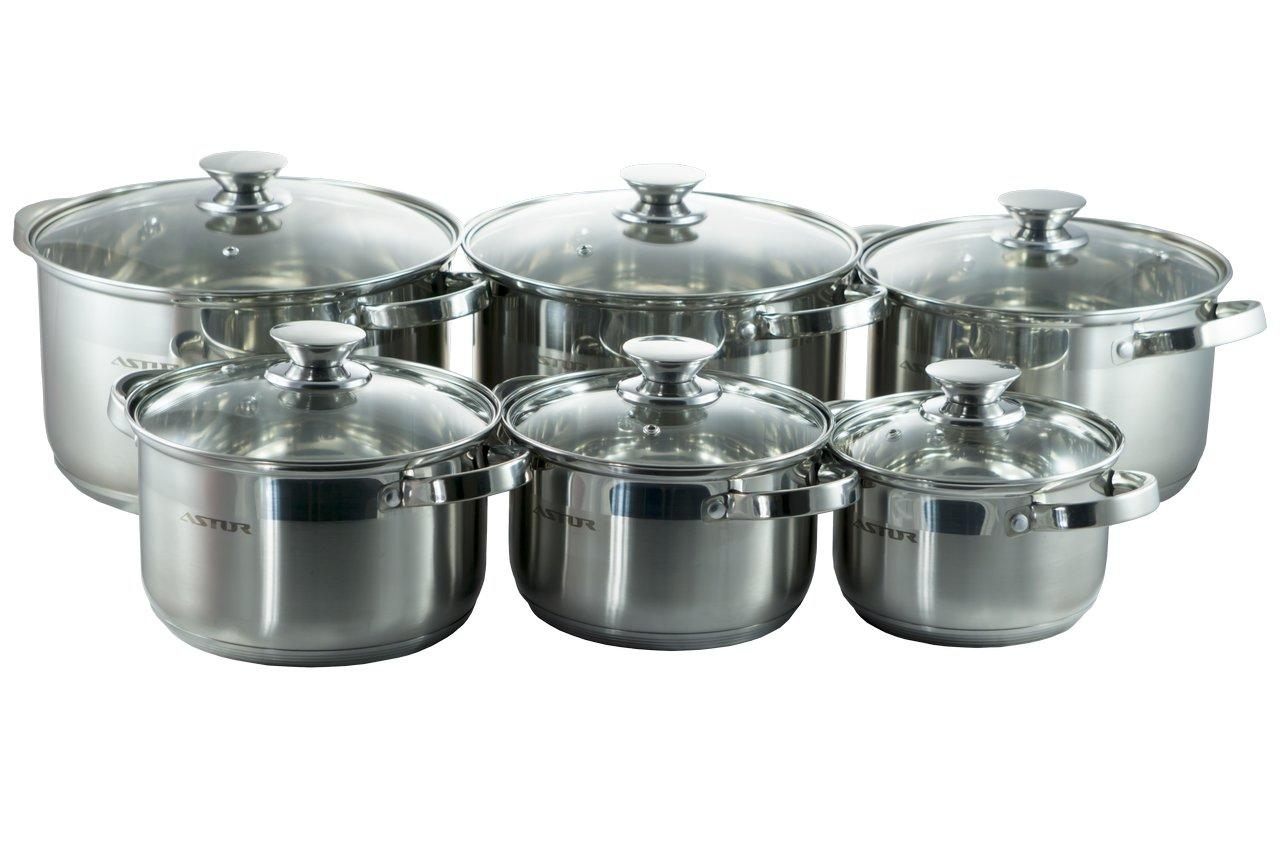 Набор посуды нержавеющий Astor - 1,9 x 2,6 x 3,6 x 4,7 x 6,1 л (6 шт.)