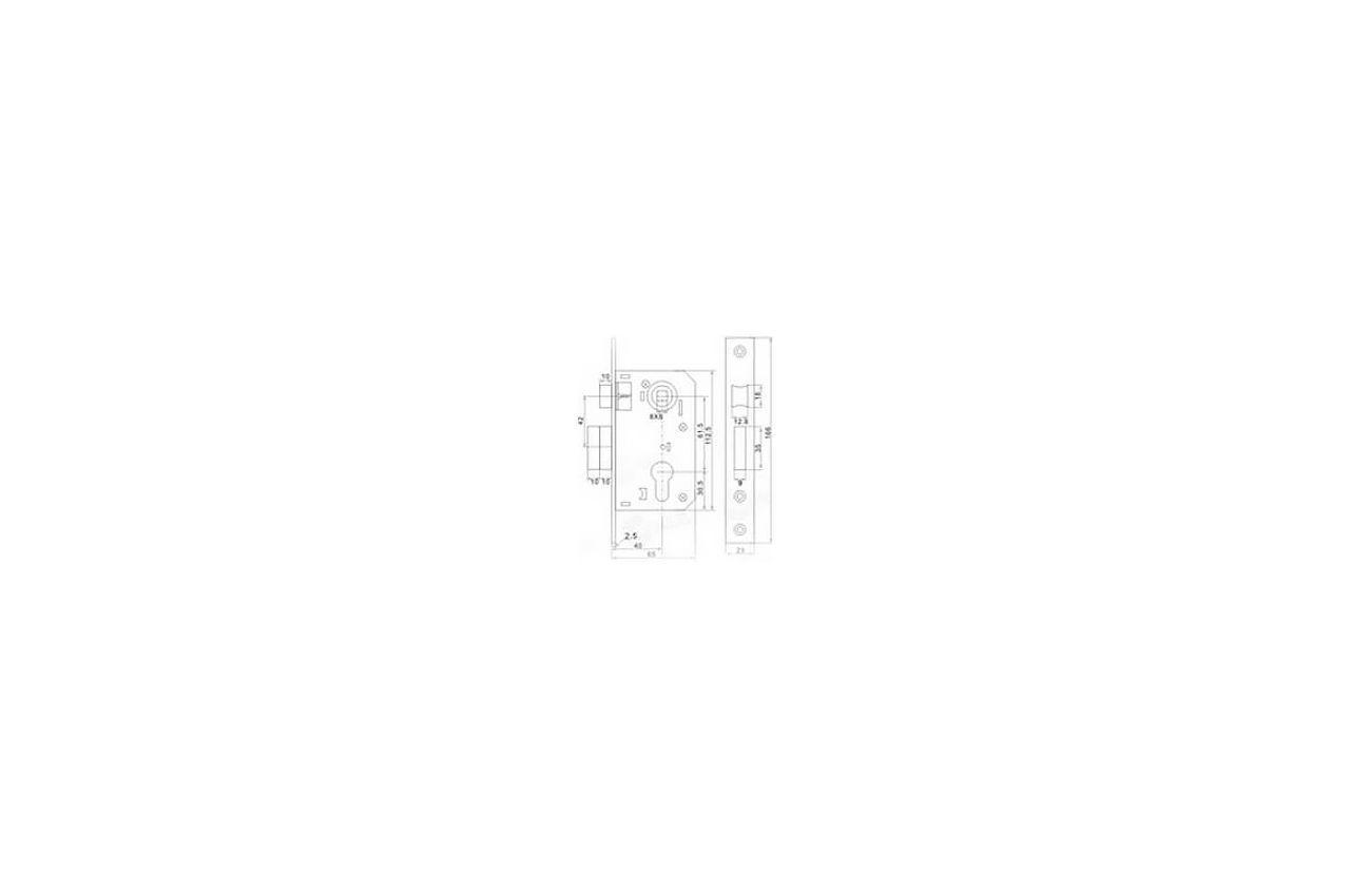 Замок врезной FZB - 62 мм 9036-3 CP