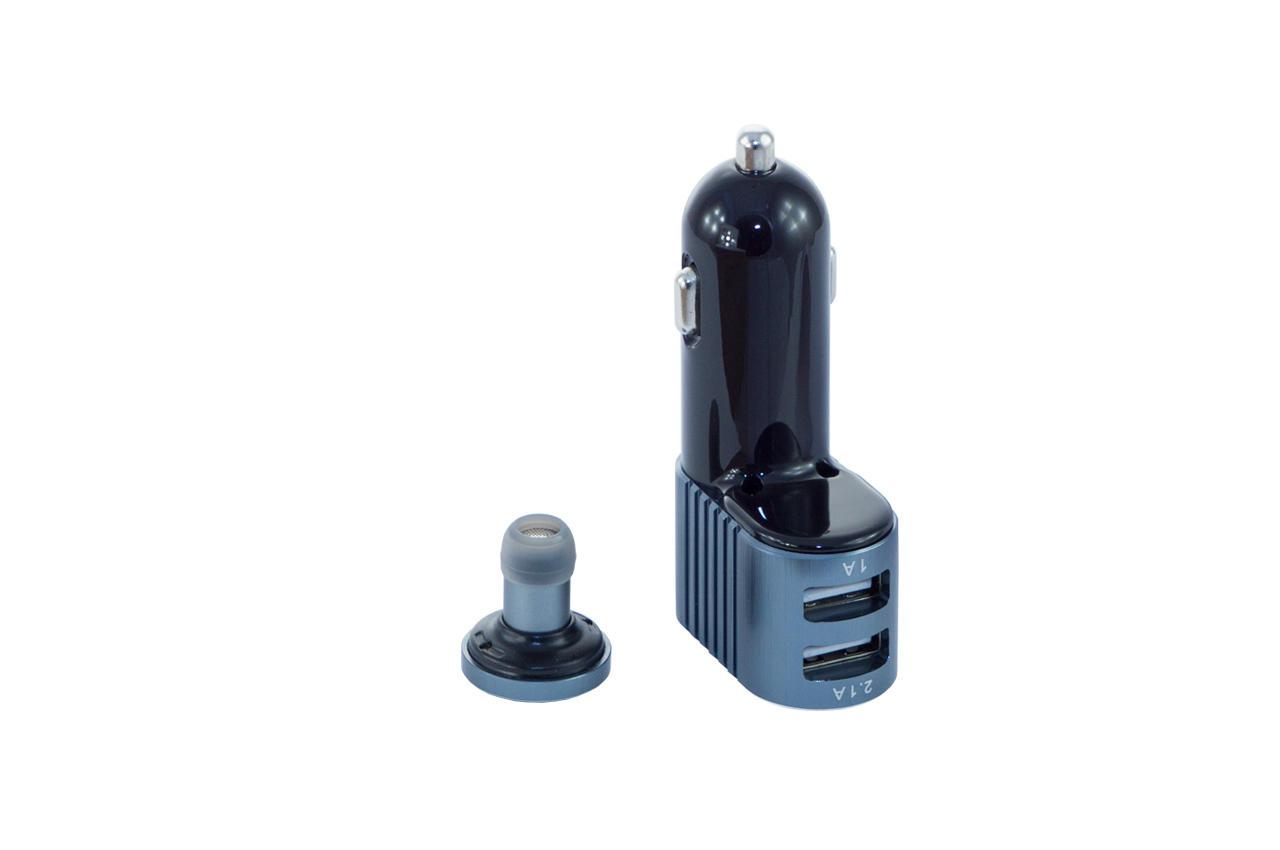 Автомобильное зарядное устройство + гарнитура Awei - A871BL 2USB Gray