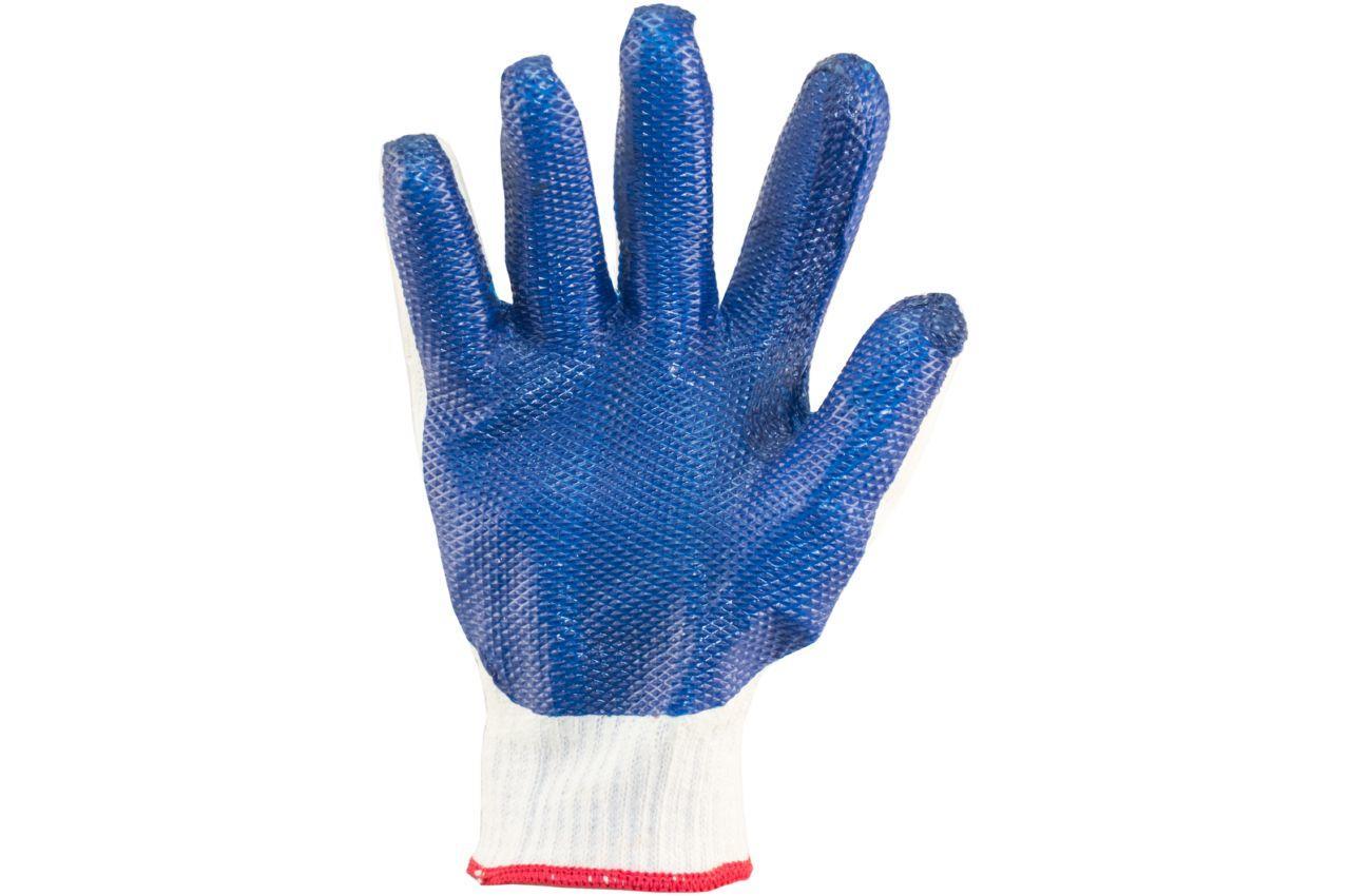 """Перчатки Mastertool - стекло (синяя) усиленная ладонь 10"""" 6 шт."""