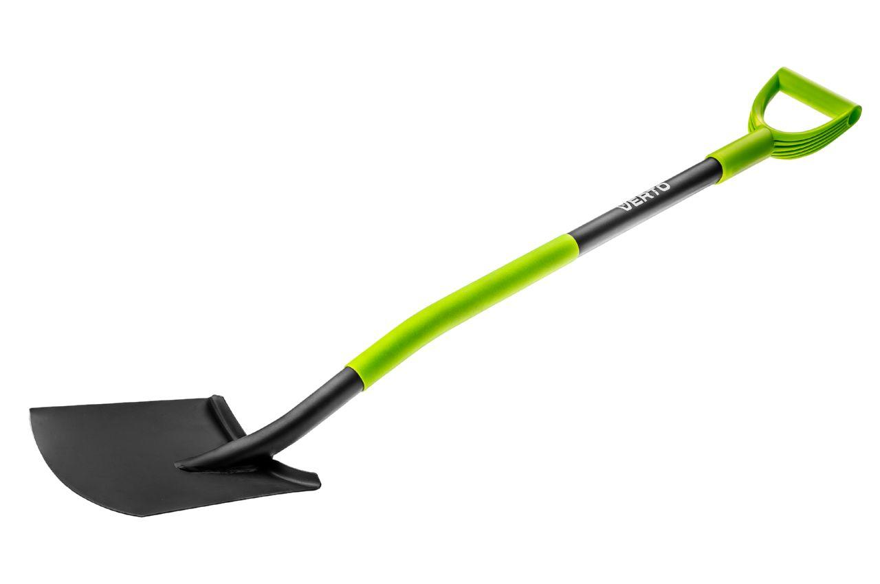 Лопата штыковая Verto - прямая ручка металл, 15G010