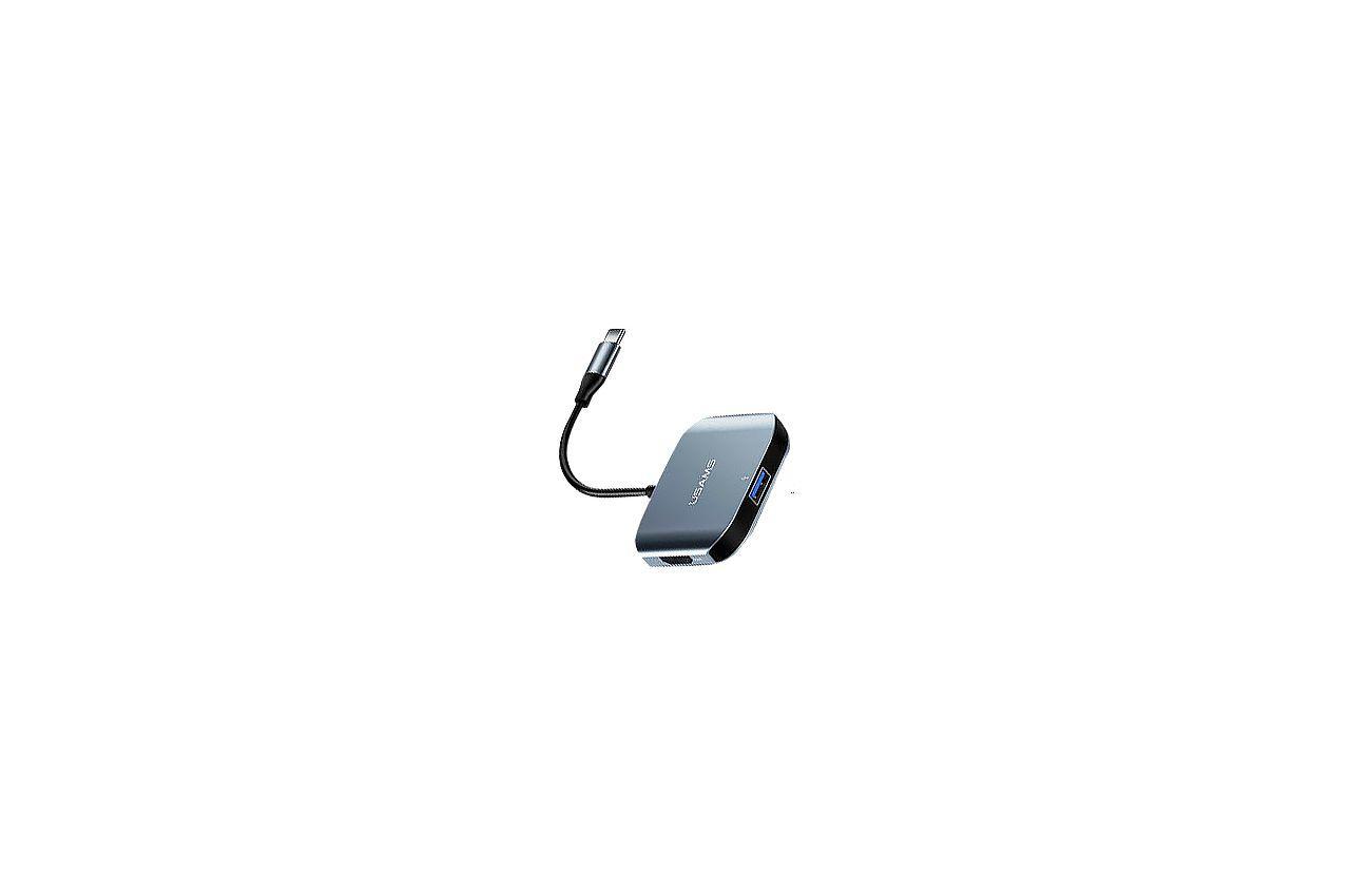 Адаптер Usams - US-SJ146 Type-C x HDMI / RJ45 / USB Gray