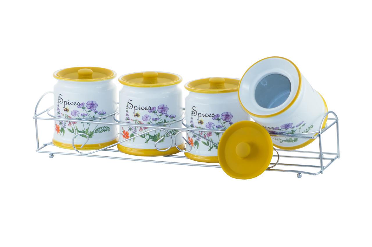 Набор для специй керамический Maestro - 5ед горизонтальный Flora