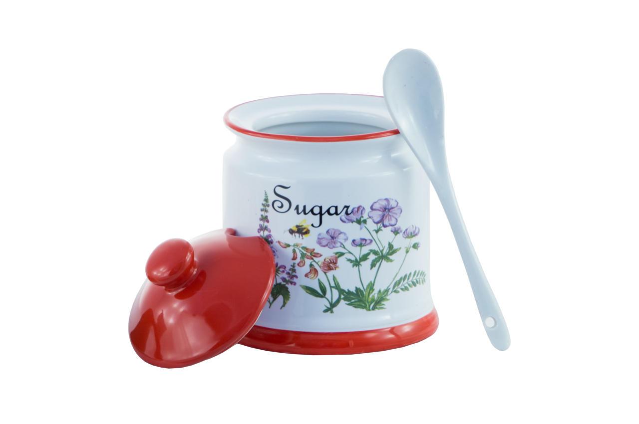 Сахарница с ложкой керамическая Maestro - 90 мм Flora