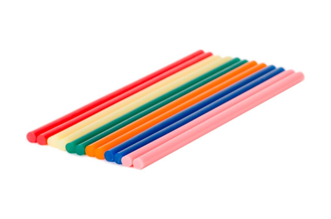 Клеевые стержни Intertool - 7,4 x 200 мм цветные (12 шт.)
