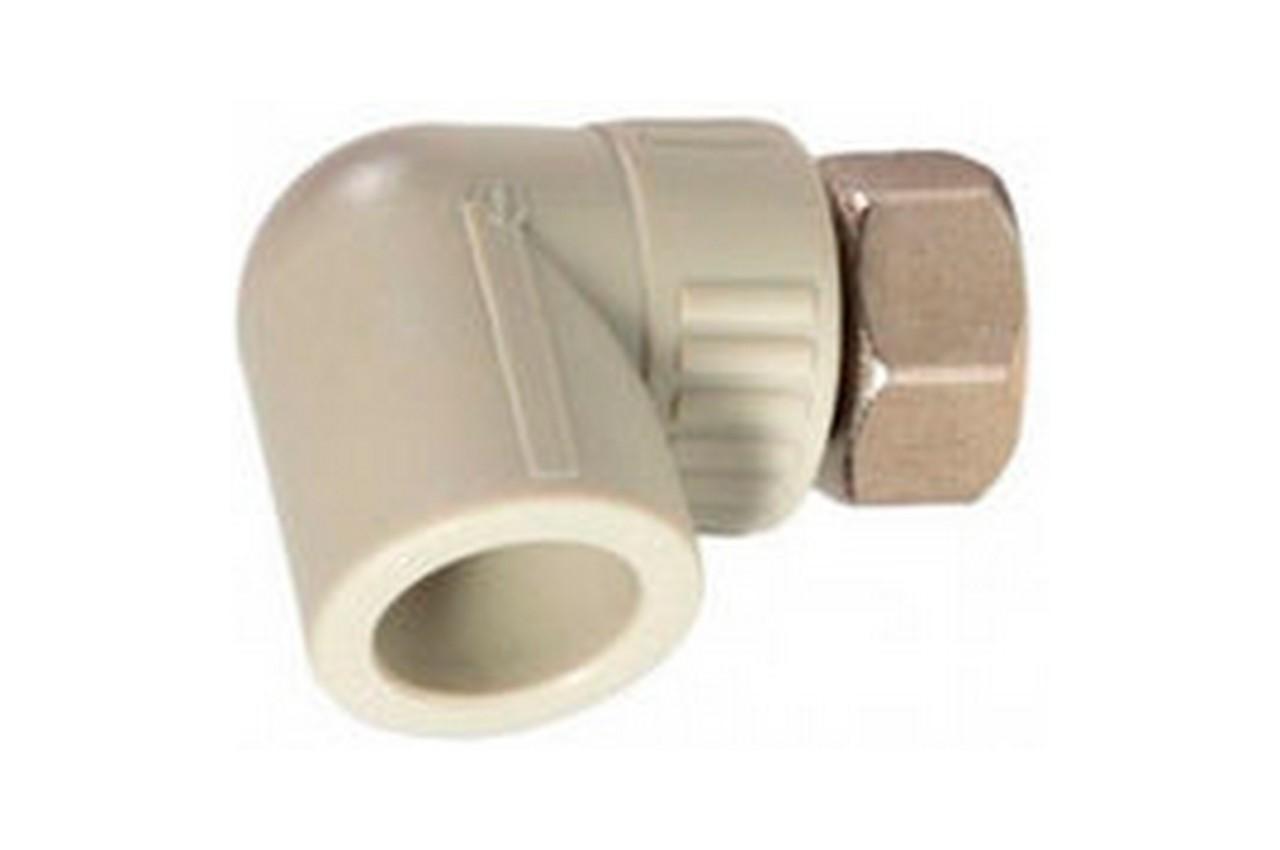 Угол PP-R Никифоров - 90° x 20 х 20 мм, с накидной гайкой 1/2