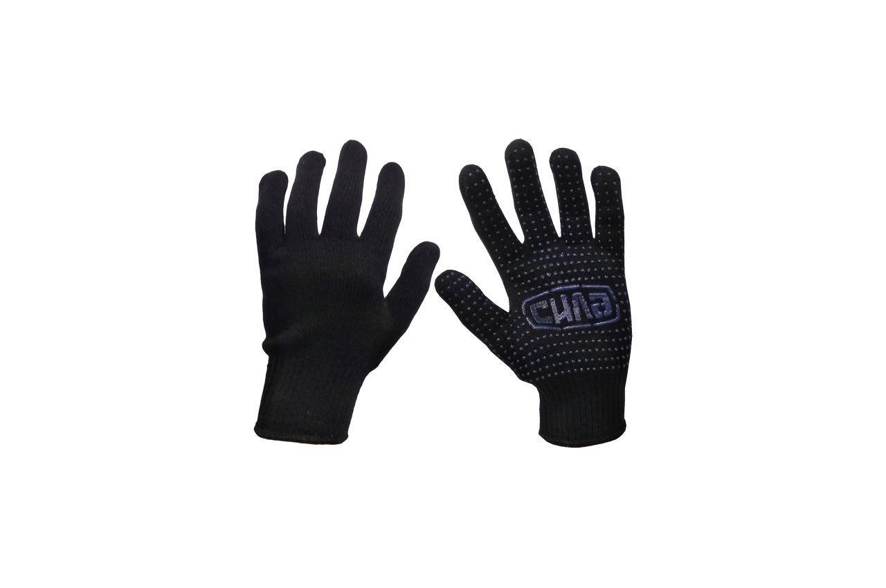 """Перчатки Сила - х/б с точкой 60 г черные 10"""" 12 шт."""