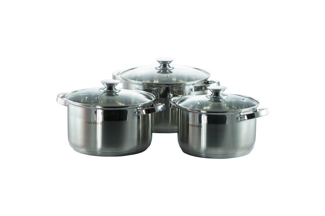 Набор посуды нержавеющий Astor - 2,1 x 3,9 x 6,1 л (3 шт.)
