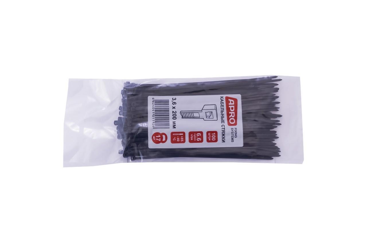 Хомут пластиковый Apro - 3,6 x 200 мм, черный (100 шт.)
