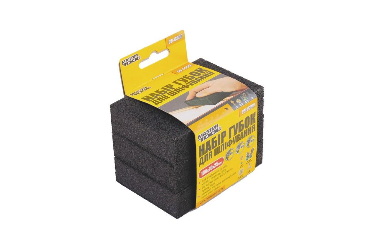 Набор губок шлифовальных Mastertool - 100 x 70 x 25 мм (3 шт.) P60-320