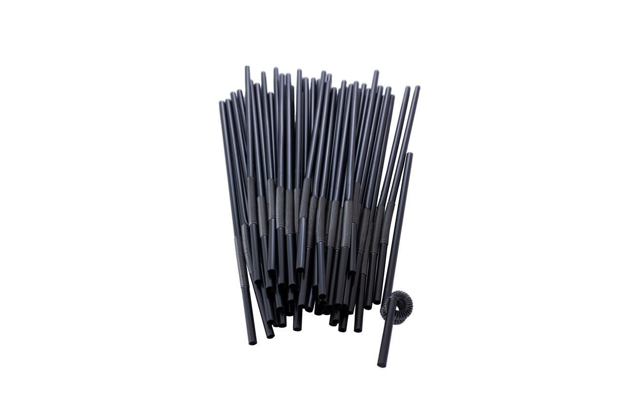 Трубочка для напитков Empire - 260 x 6 мм, с изгибом черная (100 шт.), 0240