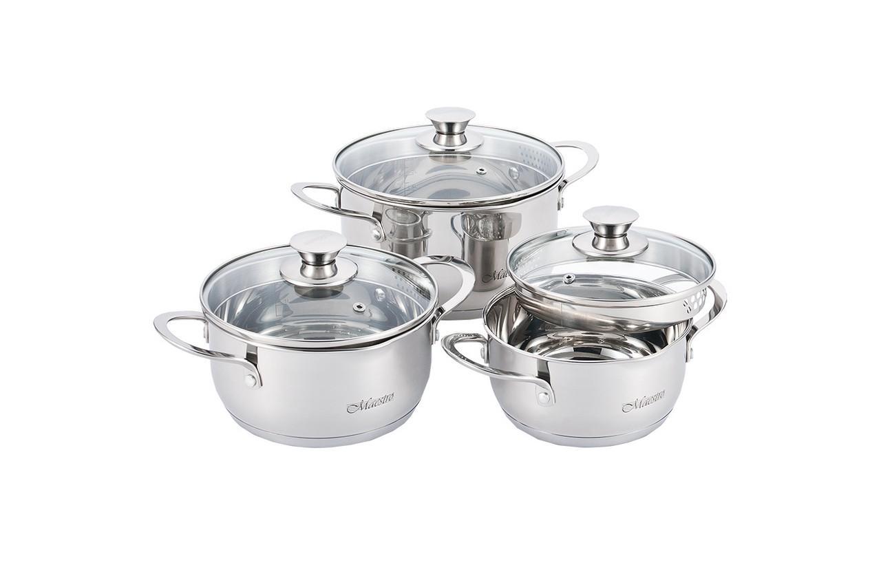 Набор посуды нержавеющий Maestro - 1,6 x 2 x 3 л (3 шт.)