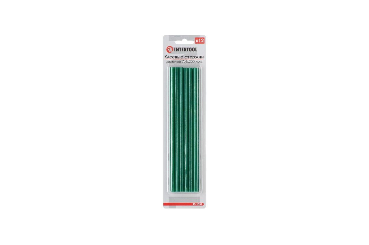 Клеевые стержни Intertool - 7,4 x 200 мм, зеленые (12 шт.)