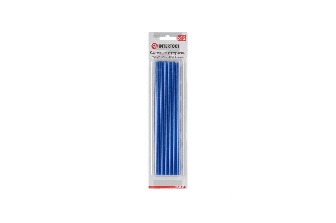 Клеевые стержни Intertool - 7,4 x 200 мм, голубые (12 шт.)