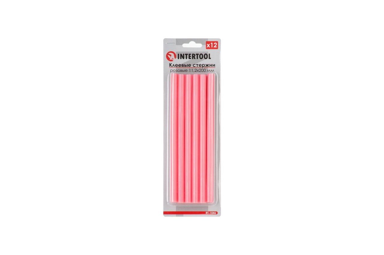 Клеевые стержни Intertool - 7,4 x 200 мм, розовые (12 шт.)
