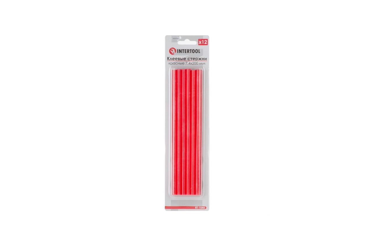 Клеевые стержни Intertool - 7,4 x 200 мм, красные (12 шт.)