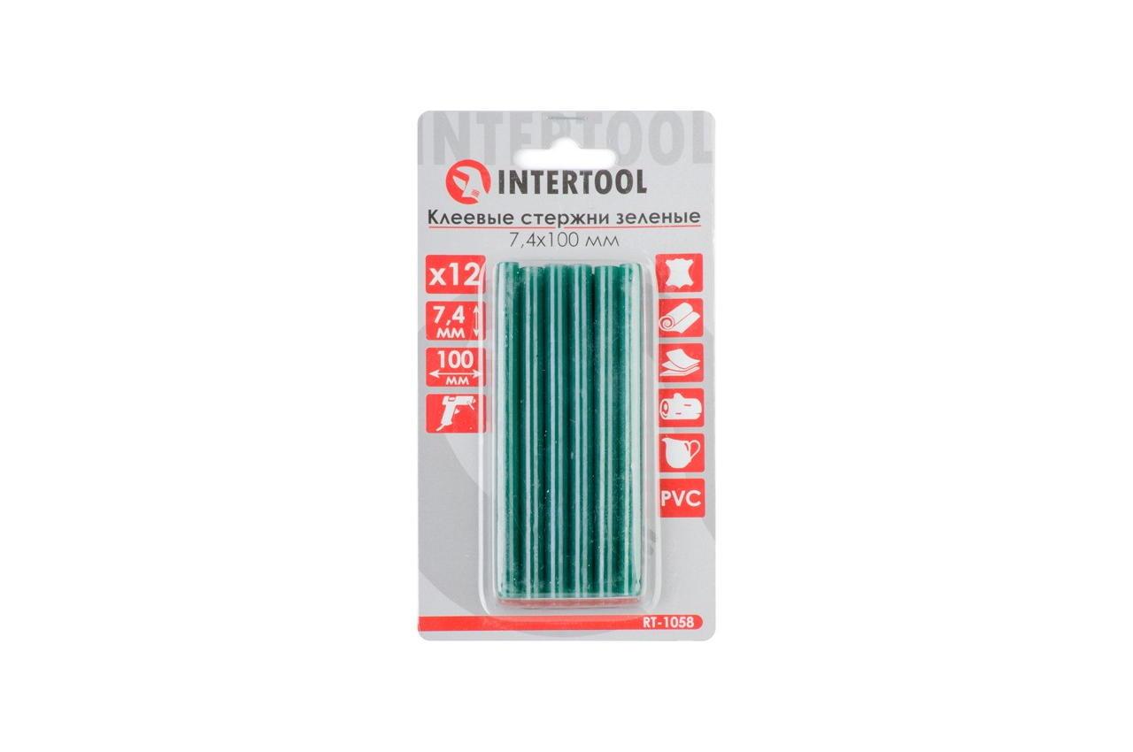 Клеевые стержни Intertool - 7,4 x 100 мм, зеленые (12 шт.)