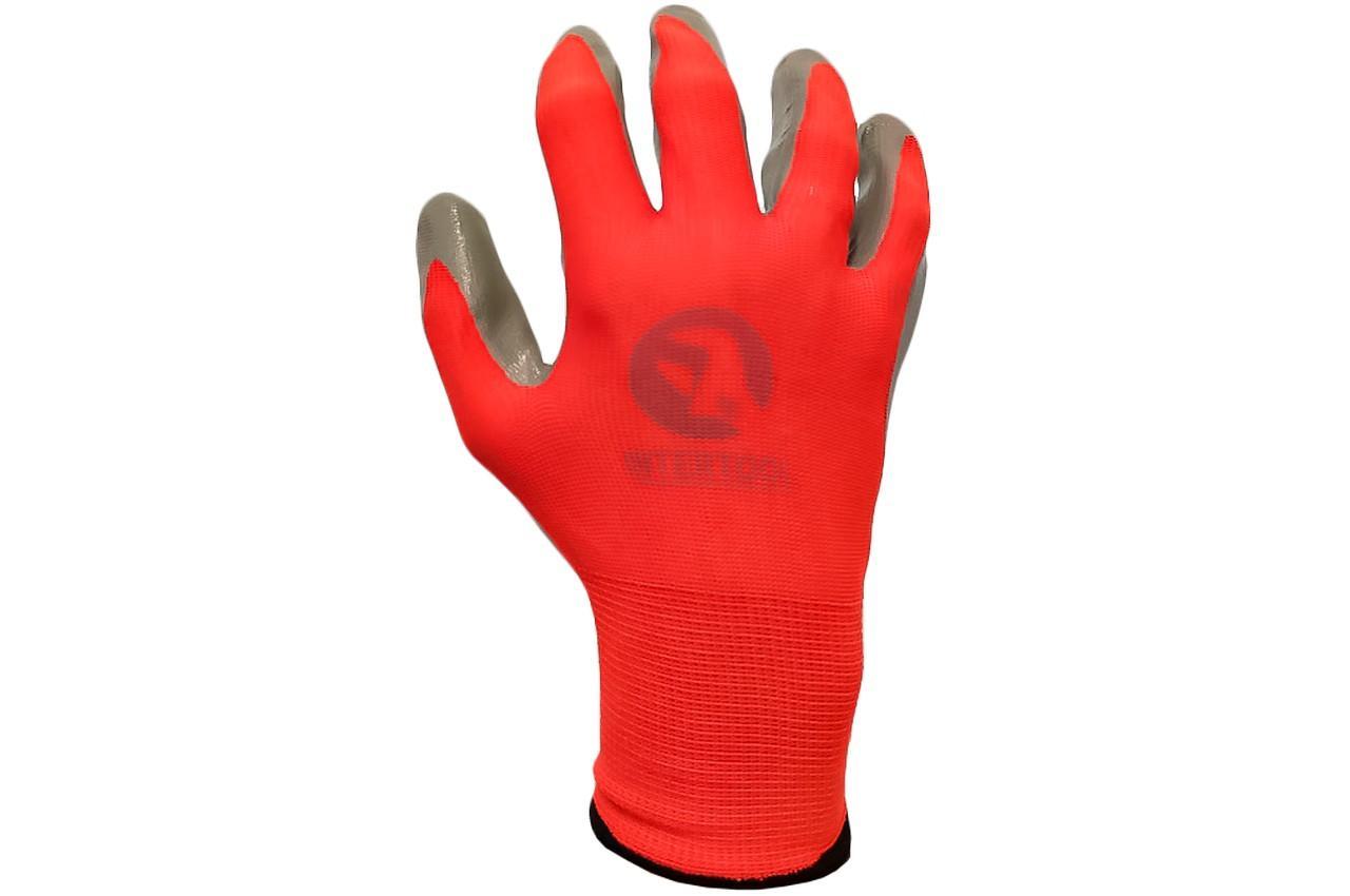 """Перчатки PRC - нитрил красно-серая 8"""" 12 шт."""