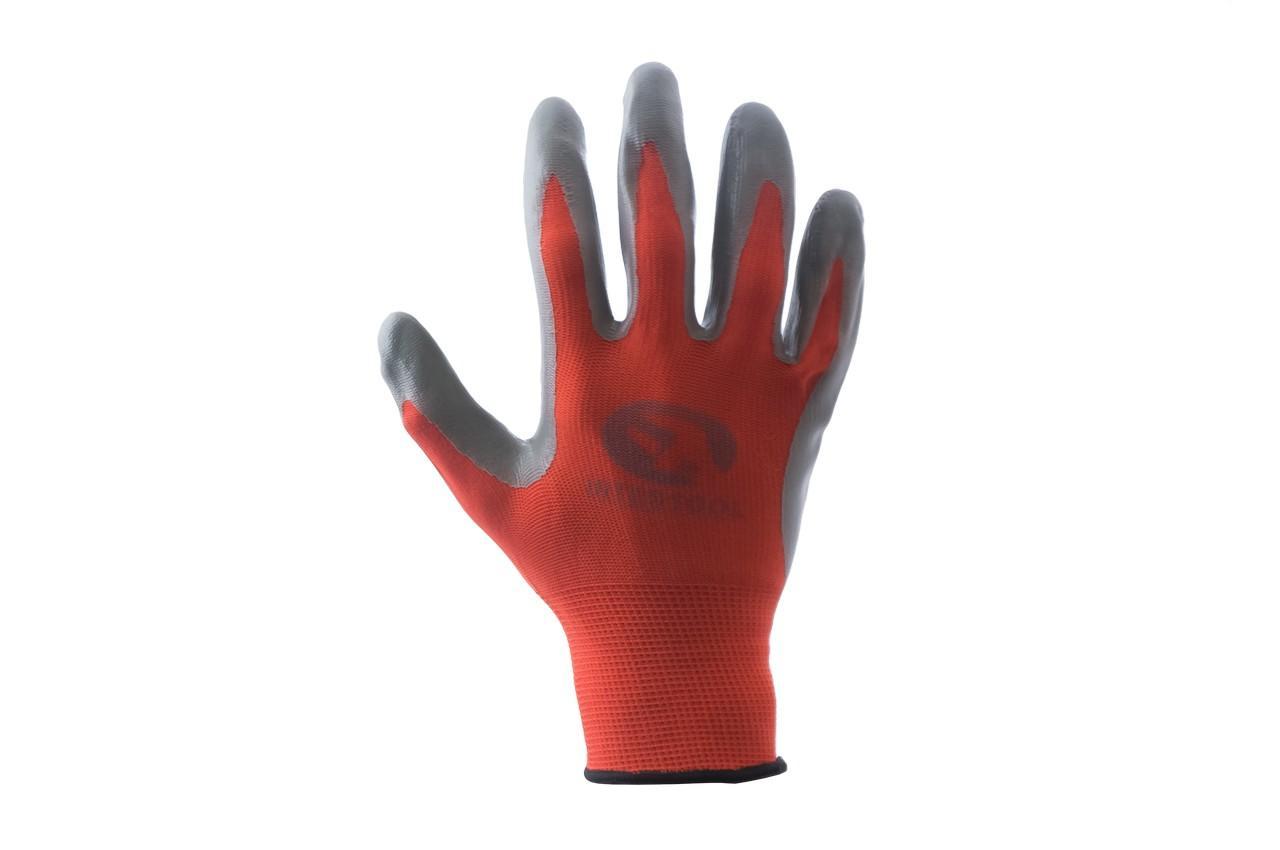 """Перчатки PRC - нитрил красно-серая 9"""" 12 шт."""