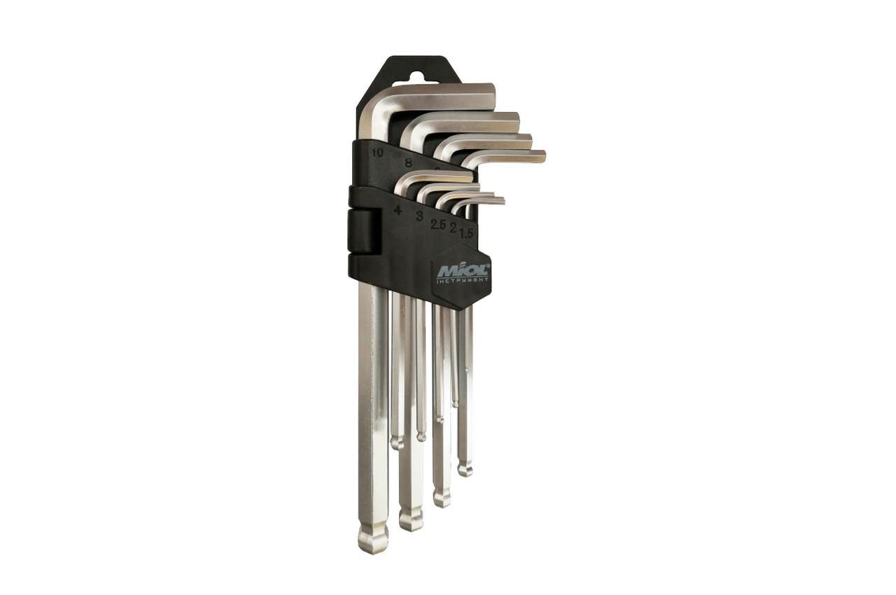 Набор шестигранных ключей Miol - 9 шт. с шаром удлиненные