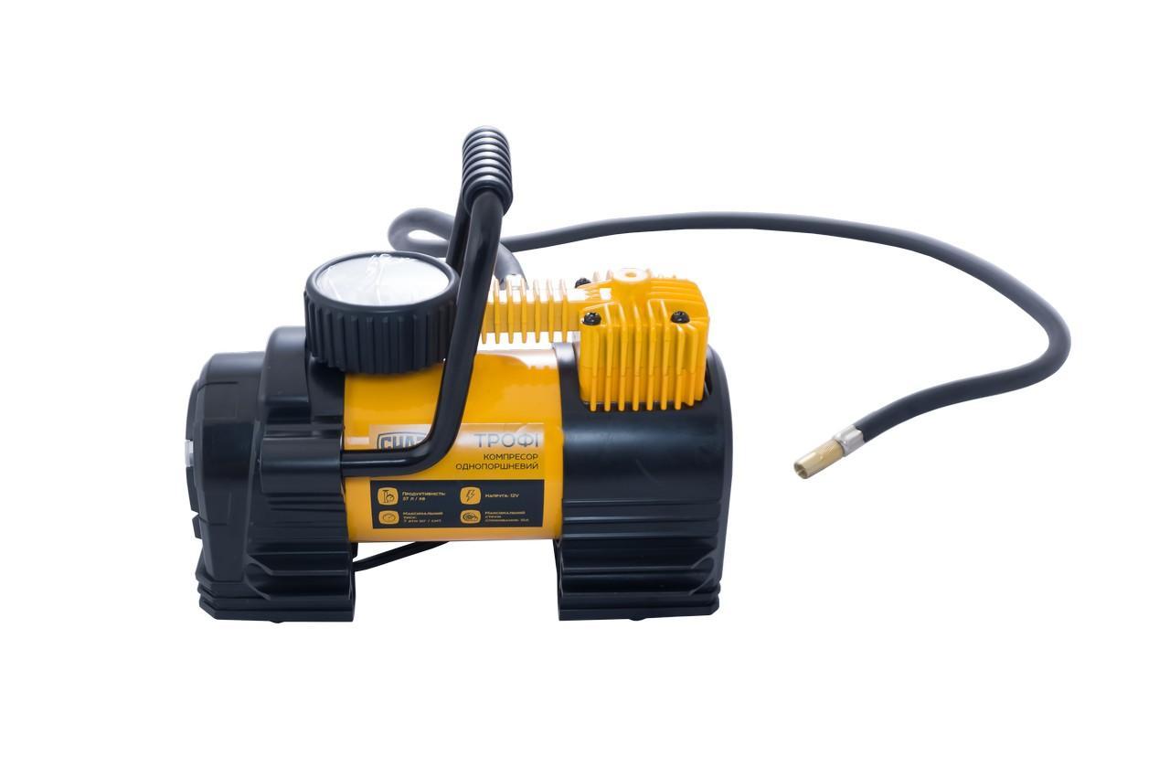 Миникомпрессор автомобильный Сила - 7атм x 37л/мин однопоршневой с фонариком