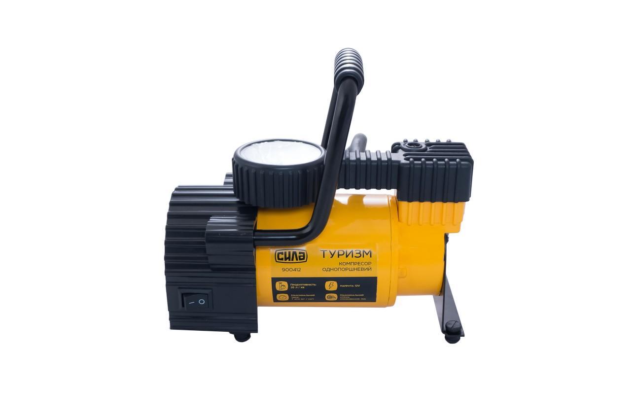 Миникомпрессор автомобильный Сила - 7атм x 35 л/мин однопоршневой с фонариком