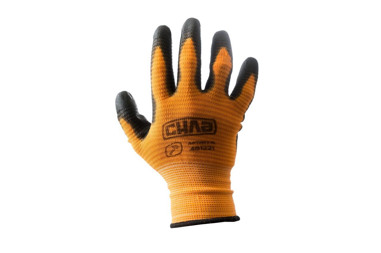 """Перчатки Сила - с латексным покрытием 10"""" (оранжево-черные) блистер 12 шт."""