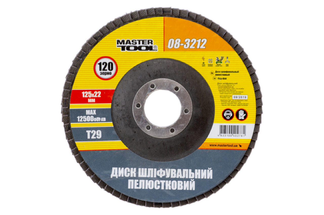 Круг лепестковый торцевой Mastertool - 125 мм x Р150 изогнутый 1 шт.
