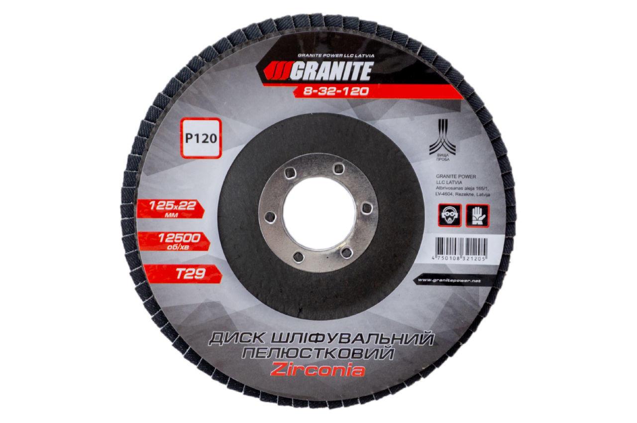 Круг лепестковый торцевой Granite - 125 мм x Р120 цирконий изогнутый 1 шт.