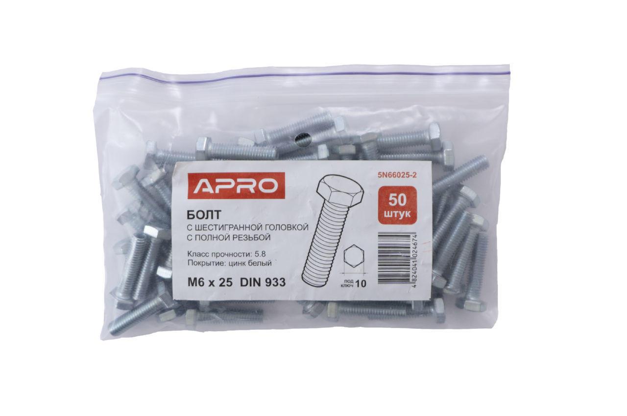 Болт шестигранный Apro - 6 x 25 мм DIN 933 (50 шт.)