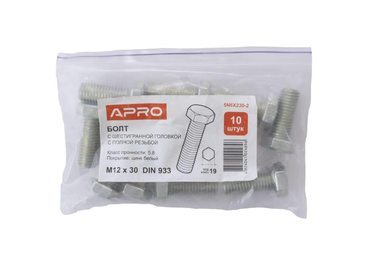 Болт шестигранный Apro - 12 x 30 мм DIN 933 (10 шт.)
