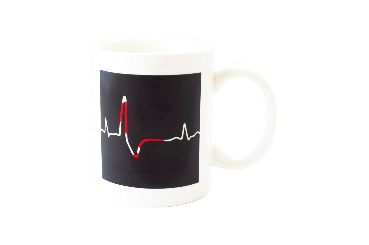 Чашка керамическая хамелеон Elite - 300 мл сердце