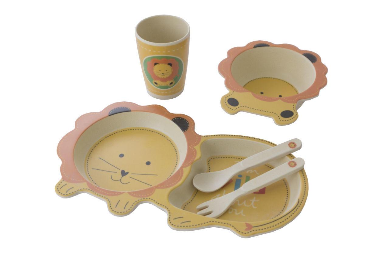 Набор посуды бамбуковый Elite - лев 5 ед.