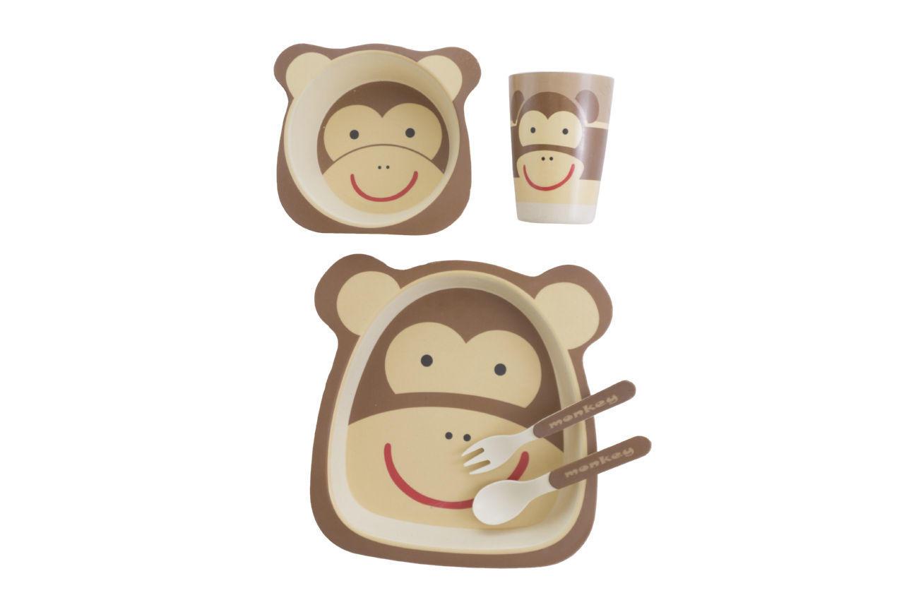 Набор посуды бамбуковый Elite - обезьяна 5 ед.