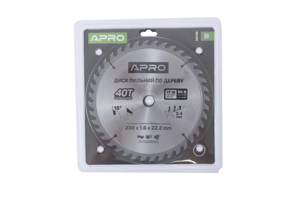 Диск пильный Apro - 230 x 22,2 мм x 40T