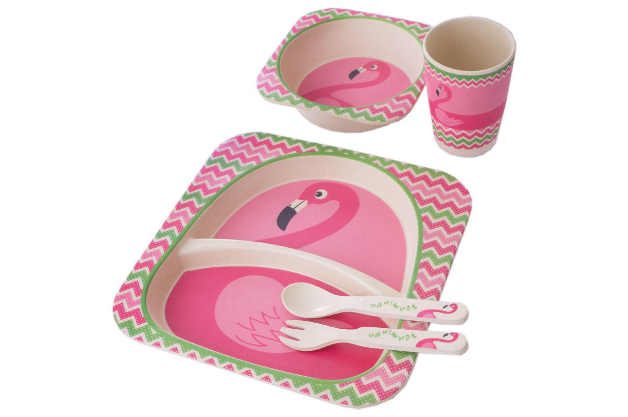 Набор посуды бамбуковый Elite - лебедь 5 ед.
