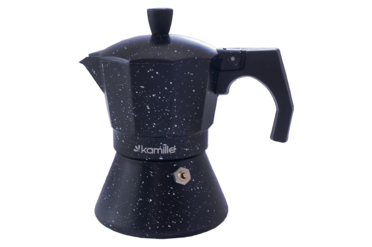 Кофеварка гейзерная алюминиевая Kamille - 150 мл индукция мрамор