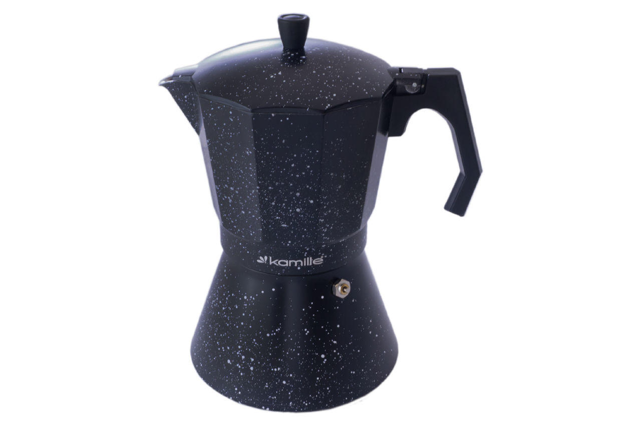 Кофеварка гейзерная алюминиевая Kamille - 600 мл индукция мрамор