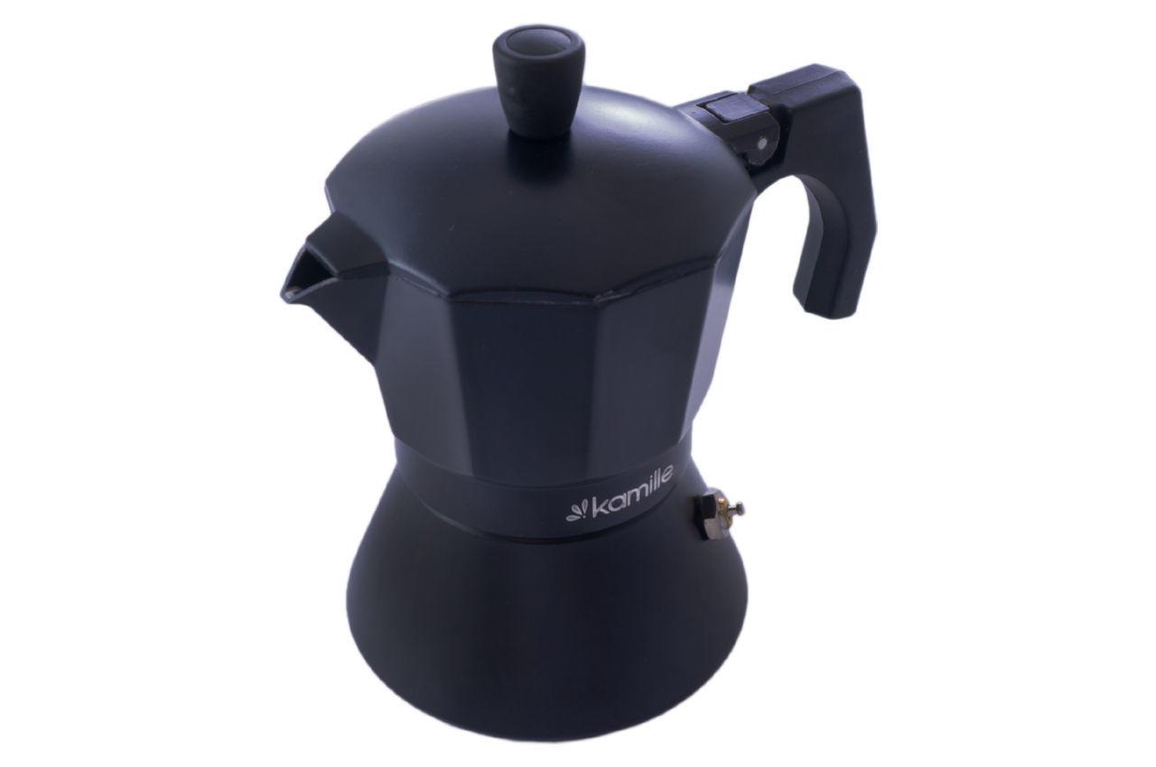Кофеварка гейзерная алюминиевая Kamille - 150 мл индукция черная