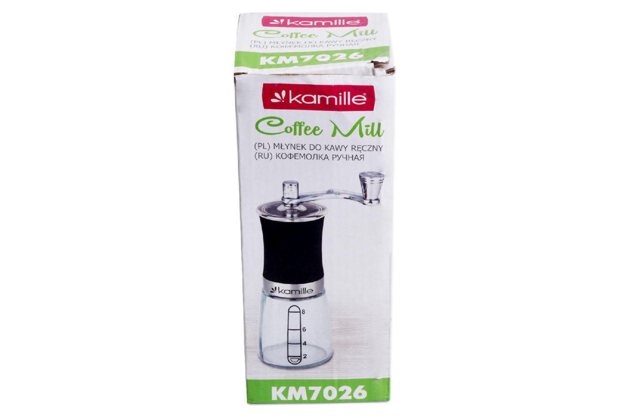 Кофемолка ручная Kamille - 190 мм стеклянная
