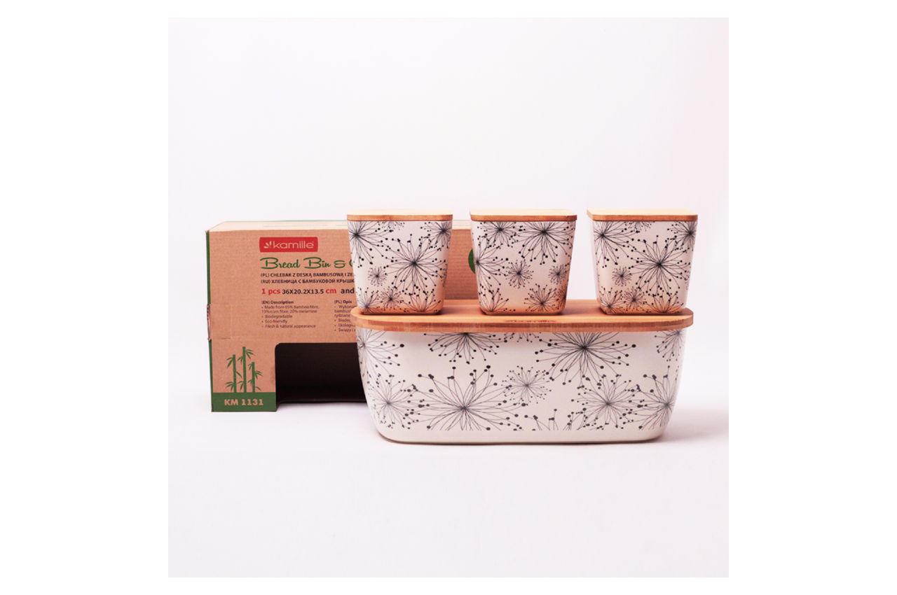 Хлебница Kamille - 360 × 202 × 135 мм бамбуковая + 3 емкости