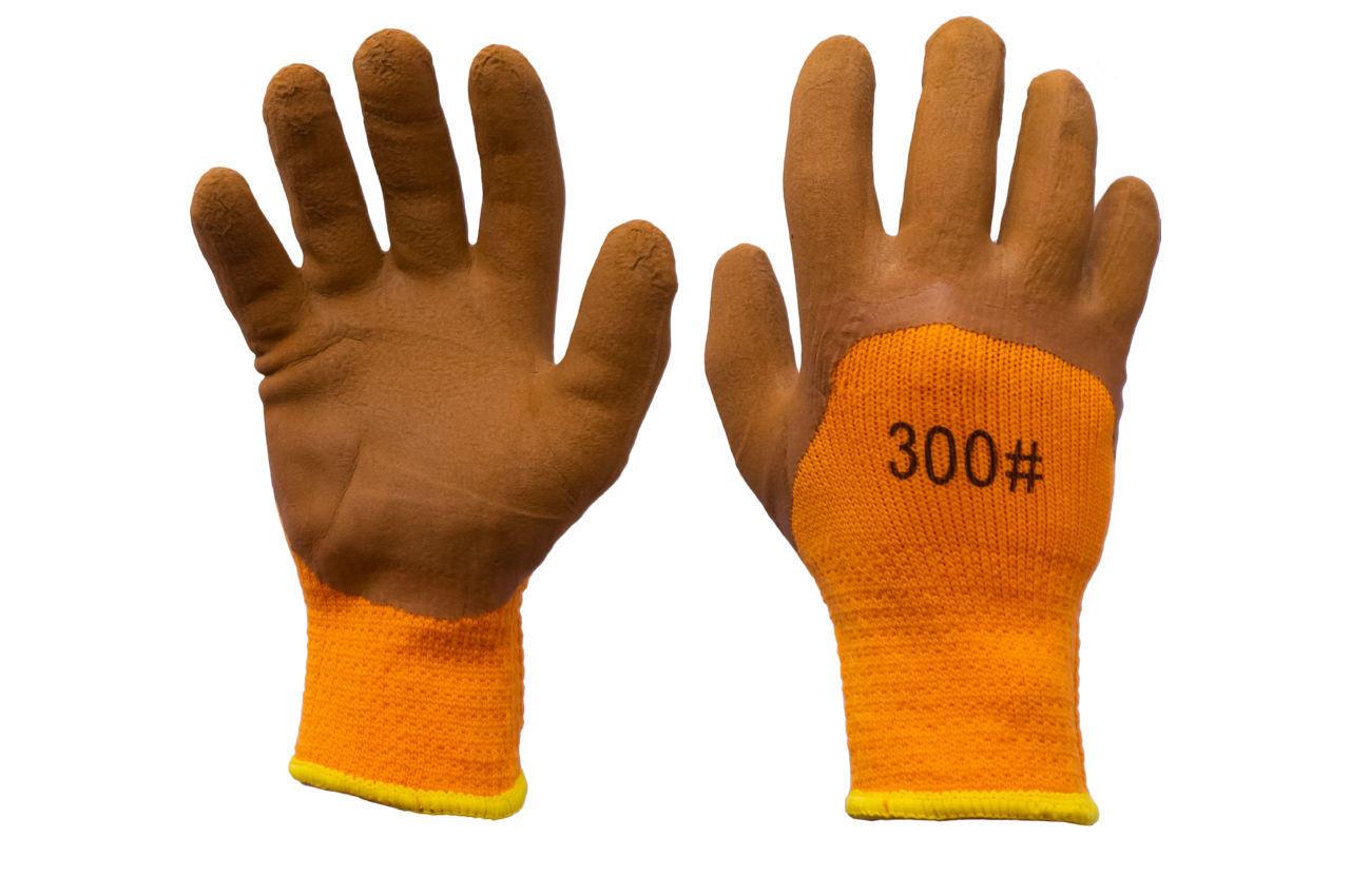 "Перчатки Китай PRC - 10"" пена коричневая"