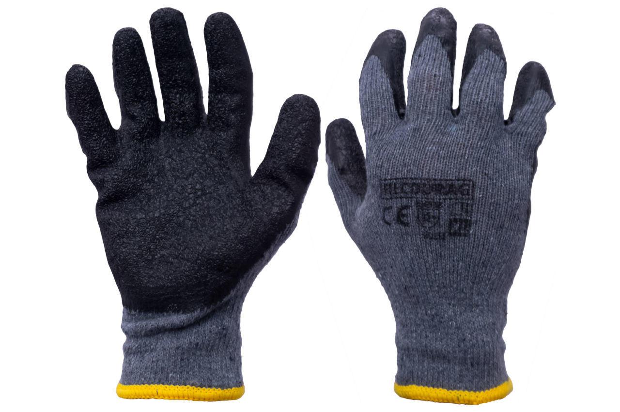 """Перчатки Китай PRC - 10"""" пена черно-серая"""