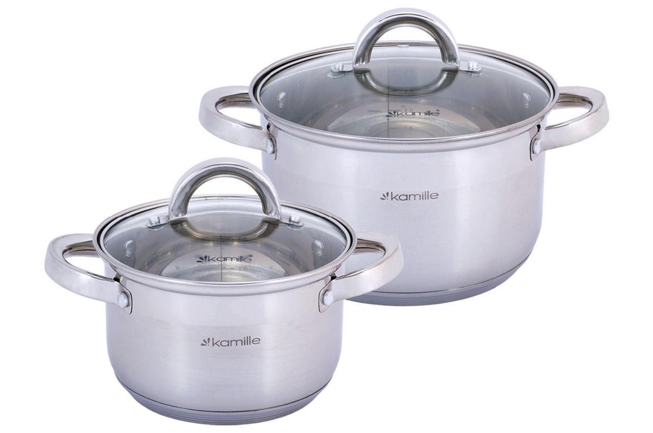 Набор посуды нержавеющий Kamille - 2,1 x 3,8 л (2 шт.)