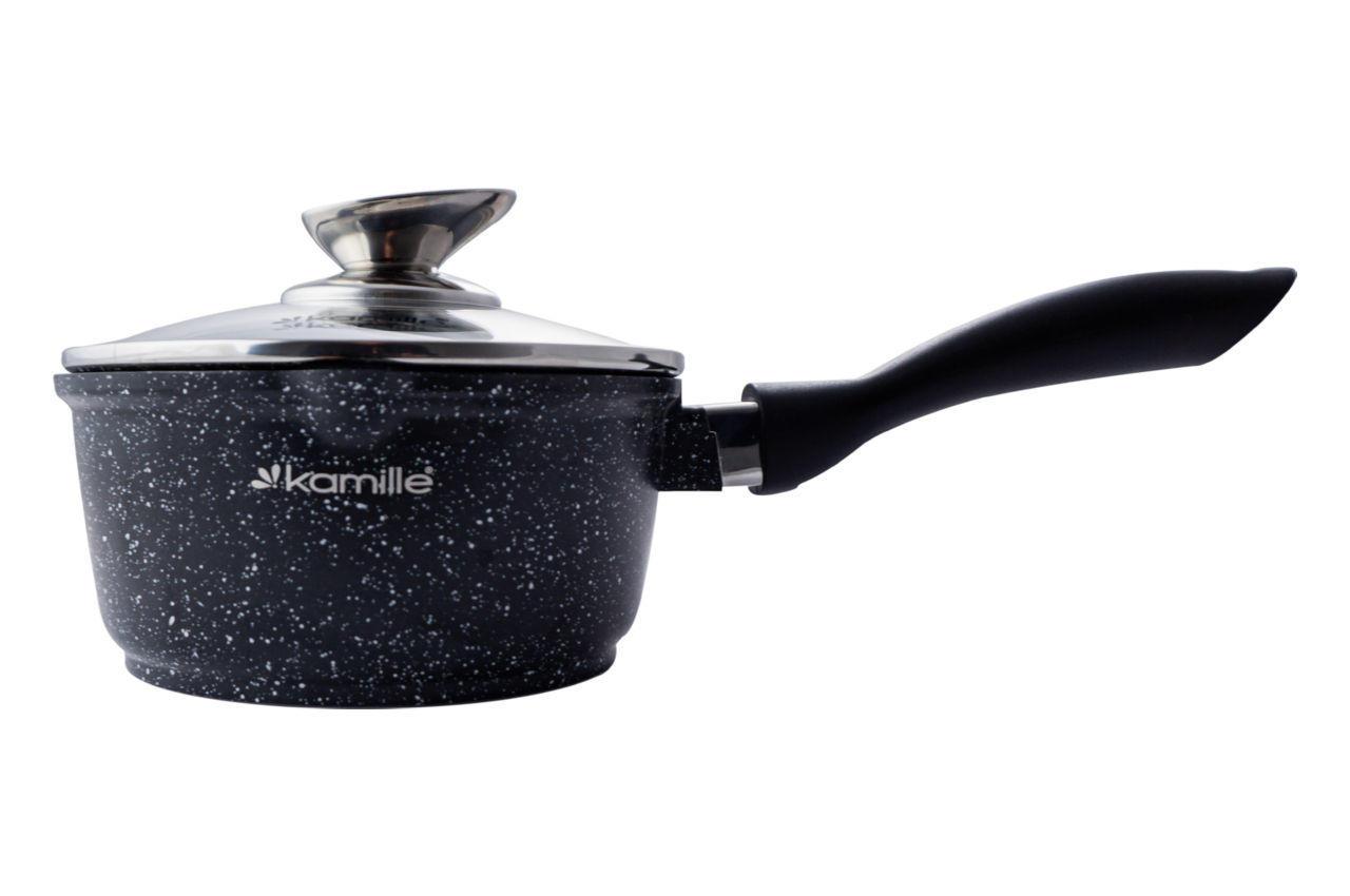 Ковш антипригарный Kamille - 160 мм x 1,35 л Black Marble с крышкой