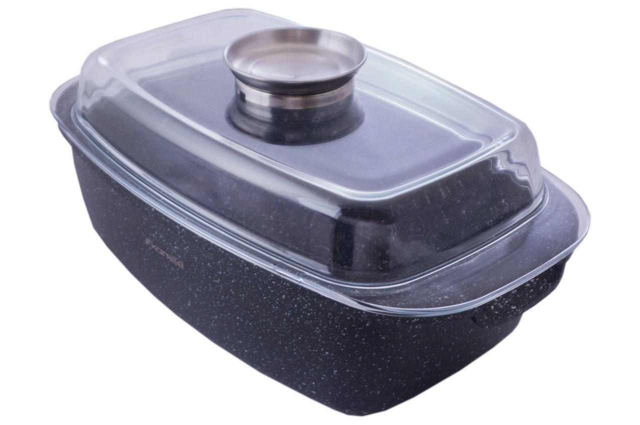 Гусятница антипригарная Kamille - 5,5 л Black Marble