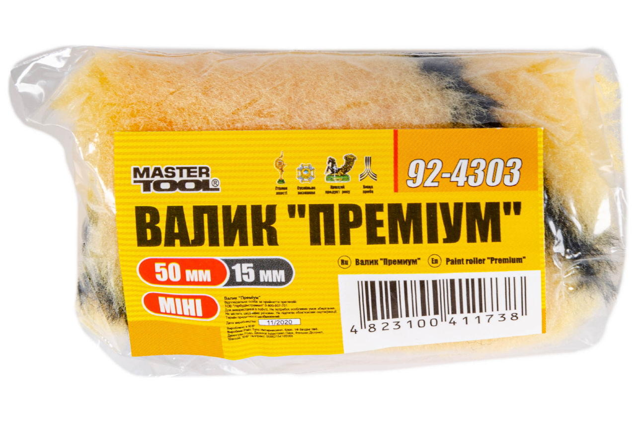 Валик премиум Mastertool - 6 х 15 х 50 мм